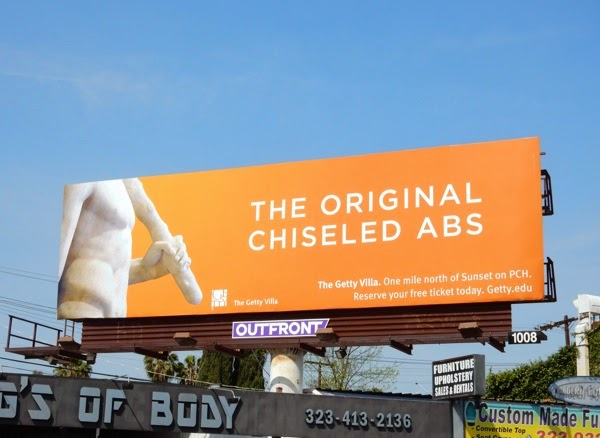 The original chiseled abs Getty Villa billboard 2015
