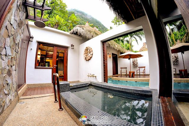 Private outdoor rain shower and a sunken Jacuzzi with natural geothermal hot springs water @ The Banjaran Water Villa