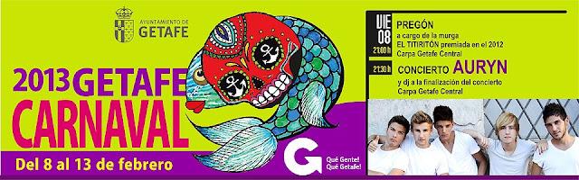 Hoy concierto de Auryn en el Carnaval de Getafe