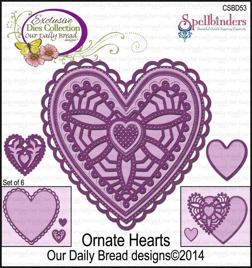 Stamps - Our Daily Bread Designs Custom Ornate Hearts Die
