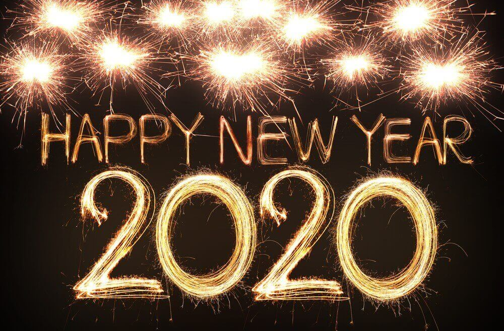 Happy New Year 2020, Gold, Fireworks
