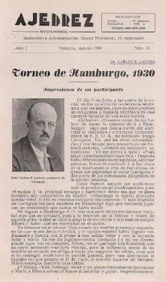 Artículo del Dr. Carlos Rodríguez Lafora sobre la III Olimpíada de Ajedrez Hamburgo (1)