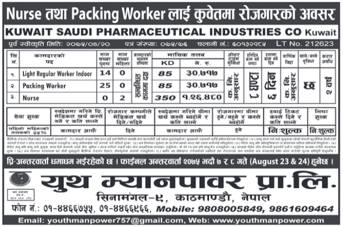 Jobs in Kuwait for Nepali, Salary Rs 1,26,480