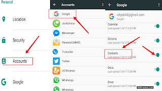 Setting or Google me Jake sync ke liye contacts ko enable Kare