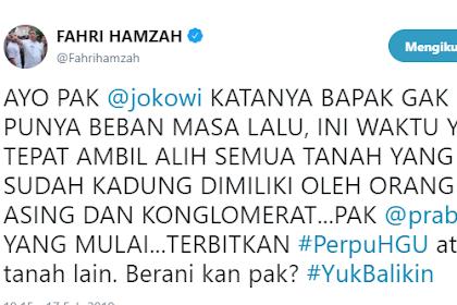 Fahri Hamzah Tantang Jokowi Rebut Tanah dari Asing dan Konglomerat