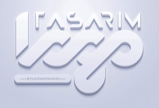 3D logo tasarımı beyaz kabartma duvar