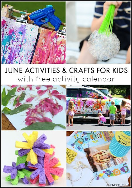June activities & crafts for kids with free downloadable activity calendar - includes lots of spring activities and crafts as well as Father's Day gifts from And Next Comes L