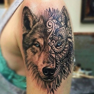 gambar tato serigala etnik keren