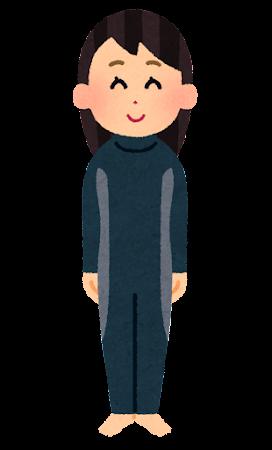 ウェットスーツを着た人のイラスト(女性)