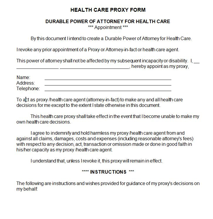 Health Care Proxy Sample Contract Docs