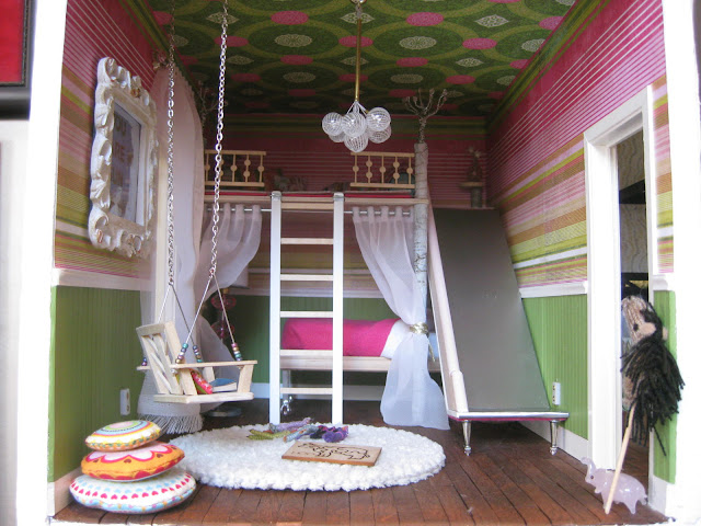 Tiny Fixation loft slide swing in bedroom