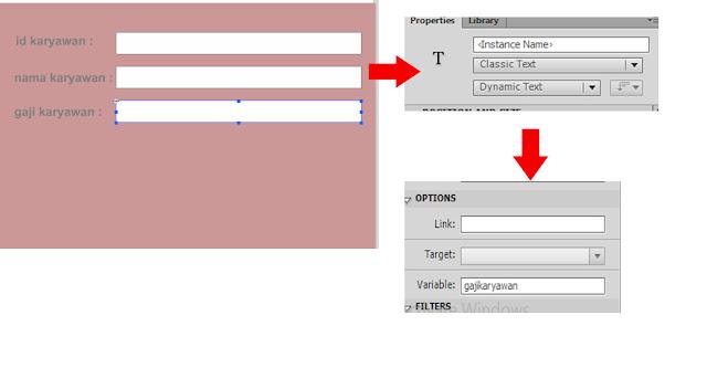 membuat teks area di gaji karyawan dengan menggunakan Teks tool (T) dengan tipe teksnya adalah Dynamic Text