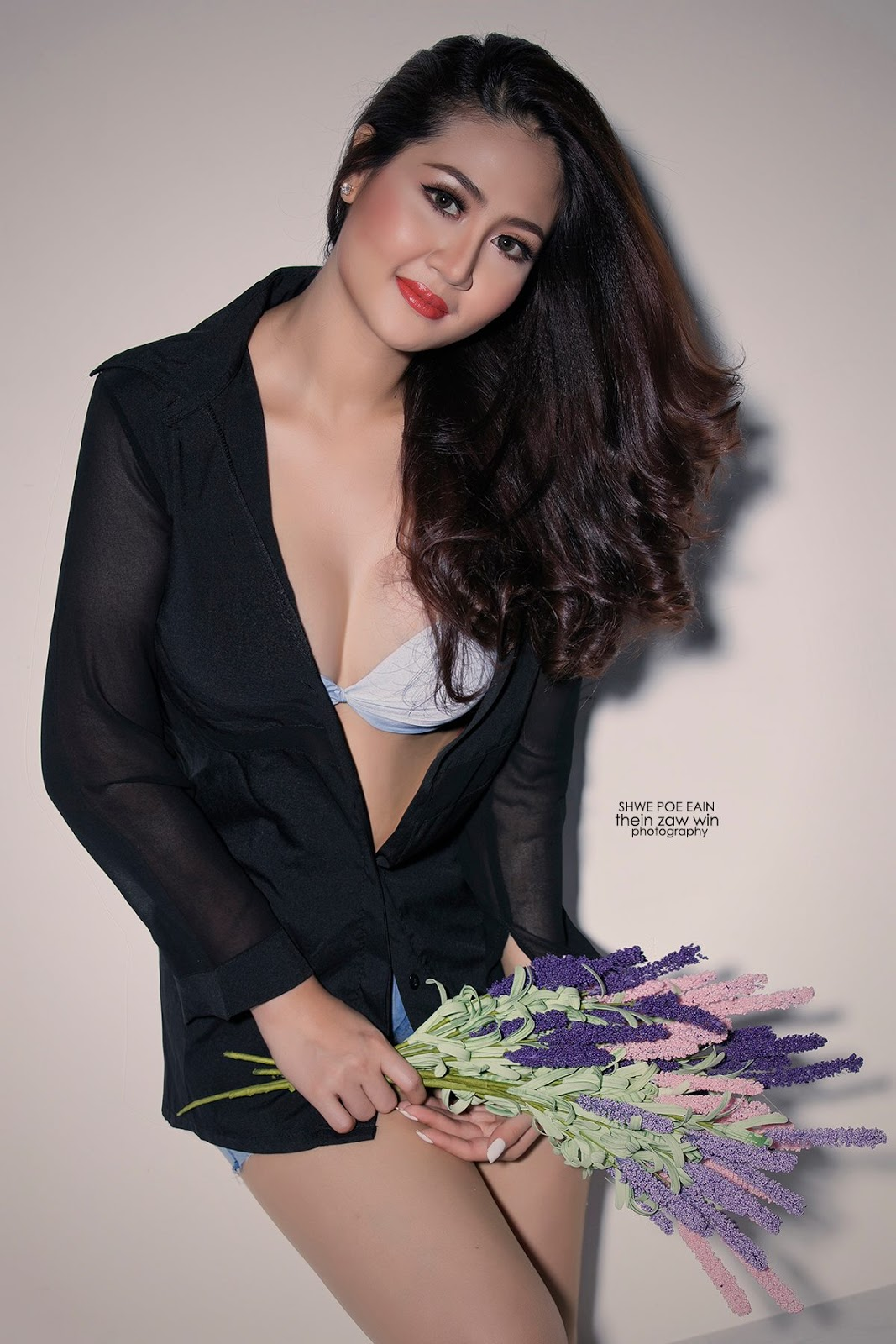 Shwe Poe Eain - Beauty Style Studio Fashion Photoshoot In Black Outfit