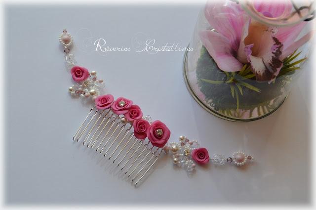 peigne romantique avec roses