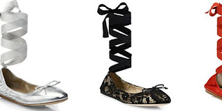 Saks Fifth Avenue Ballet Flat Shoes With Ankle Wrap Lace-Up Ribbon Tie
