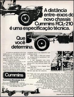 propaganda  chassis RCL-210 Cummins - 1975, carroceria de onibus anos 70, chassis caminhão anos 70, chassis decada de 70, Cummins Nordeste S.A. Oswaldo Hernandez,