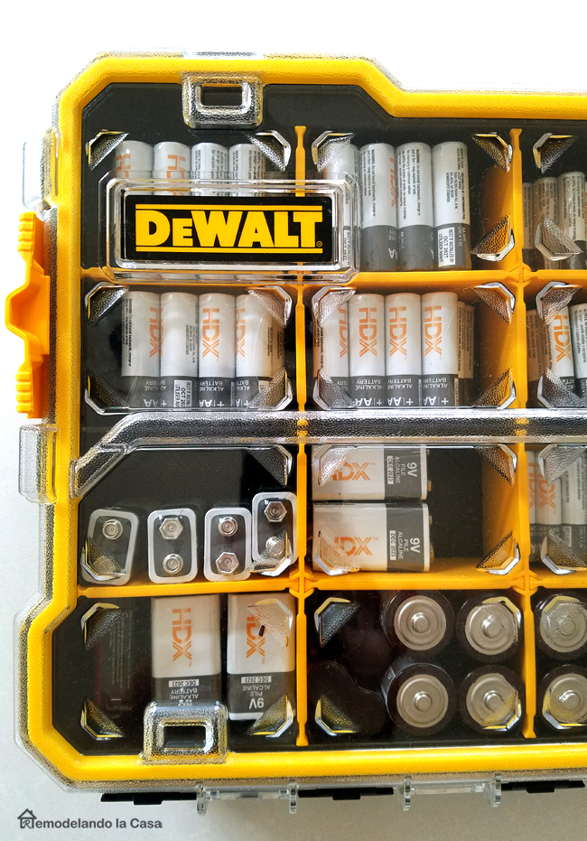 yellow dewalt 20 compartment pro small part organizer packed with HDX alkaline batteries