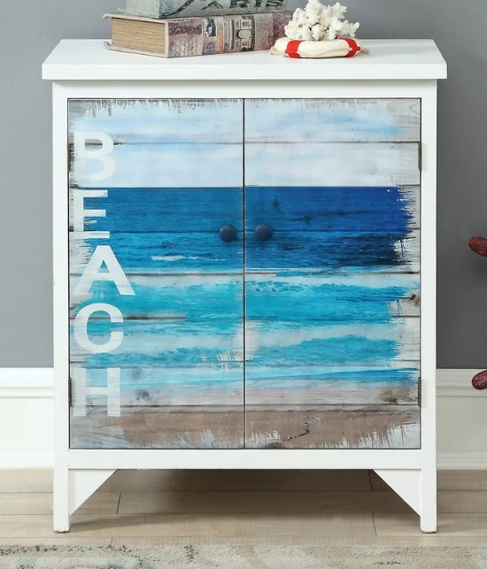 Blue Painted Beach Word Cabinet