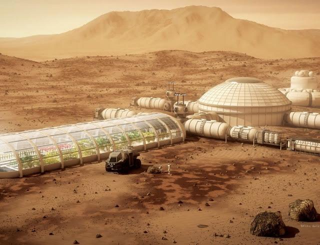 Ilustração - colônia em Marte