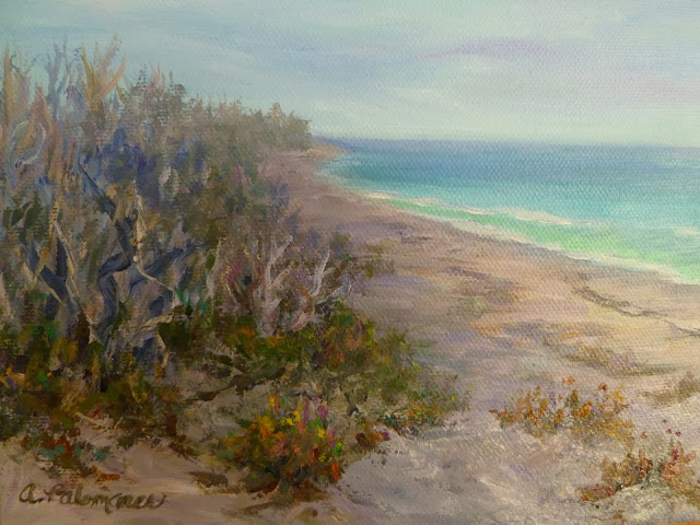 Coastal Painting of Dunes by Ocean