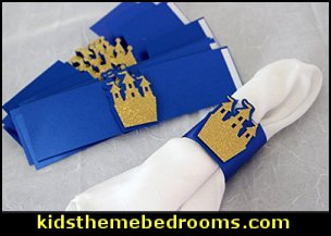 Royal Blue & Gold Prince Theme Napkin Holders