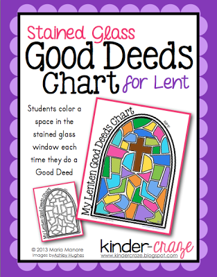 FREE lenten good deeds chart. Children color a space each time they do a good deed.