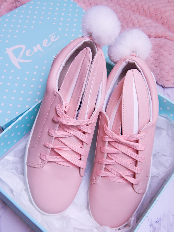 17 różowe tenisówki króliki z pomponem urocze buty na wiosnę tenisówki do każdej stylizacji renee pudrowy róż partybox buty w kształcie zająca