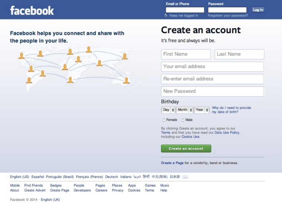 Facebook Log-in Page 2014