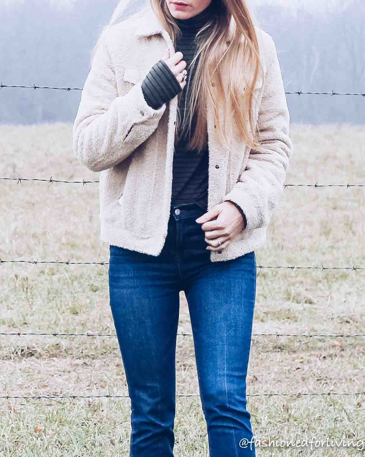 sherpa jacket outfit with cropped jeans and fringe moccasins