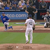 Kyle Schwarber's foul tip bounces into his groin
