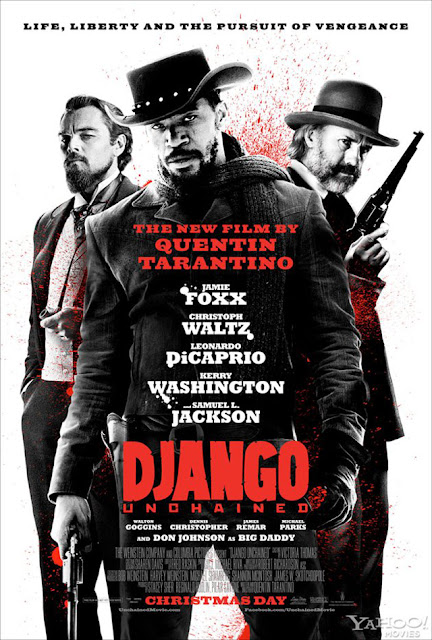 Django Unchained, Directed by Quantin Tarantino, starring Jamie Foxx, Christoph Waltz, Leonardo DiCaprio and Samuel L. Jackson