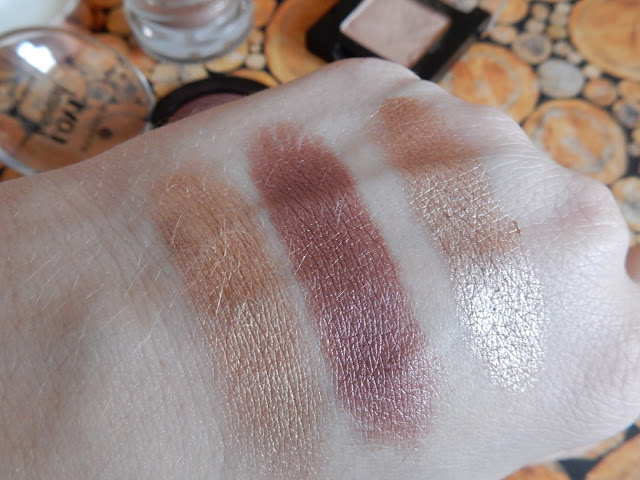 essence Love & sound LE - eyeshdow in 01 Glastonberry, Manhattan - Multi Effect Eyeshadow in 92Q Frappucino, p2 - Forever Intense eye shadow cream in 020 just as you are Swatches, Review