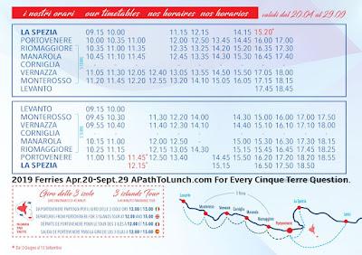 2019 Cinque Terre Ferry Schedule with La Spezia, Lerici, Portovenere
