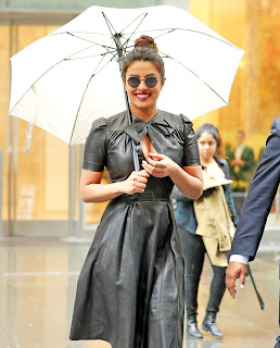 PriyankaChopra in New York in a Cleavages Exposing Leather Frock