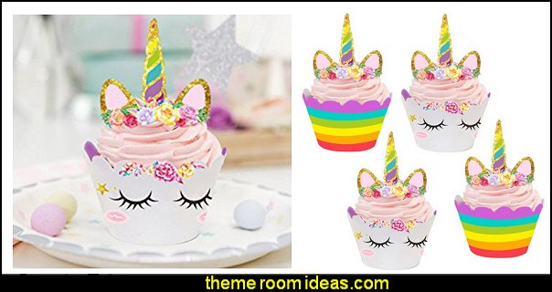 Unicorn Cupcake Toppers and Wrappers Kids Party Cake Decorations