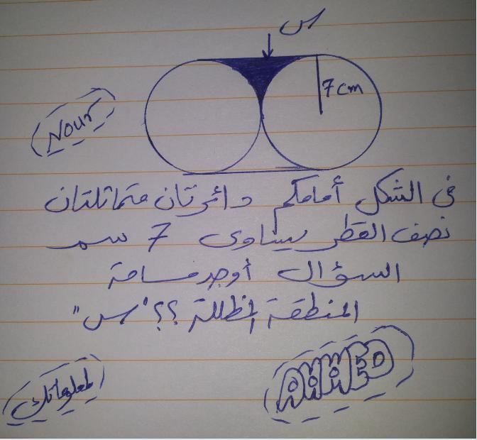 دائرتان متماثلتان نصف القطر يساوي 7 سم ما هي مساحة المنطقة المظللة بينهما س ؟