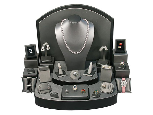 Shop the Steel Gray Faux Leather Jewelry Display 28 Piece Set at Nile Corp