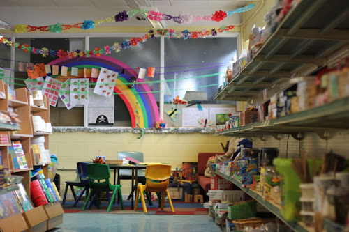 colourful decorations in children's creative area in artrageous art supplies shop