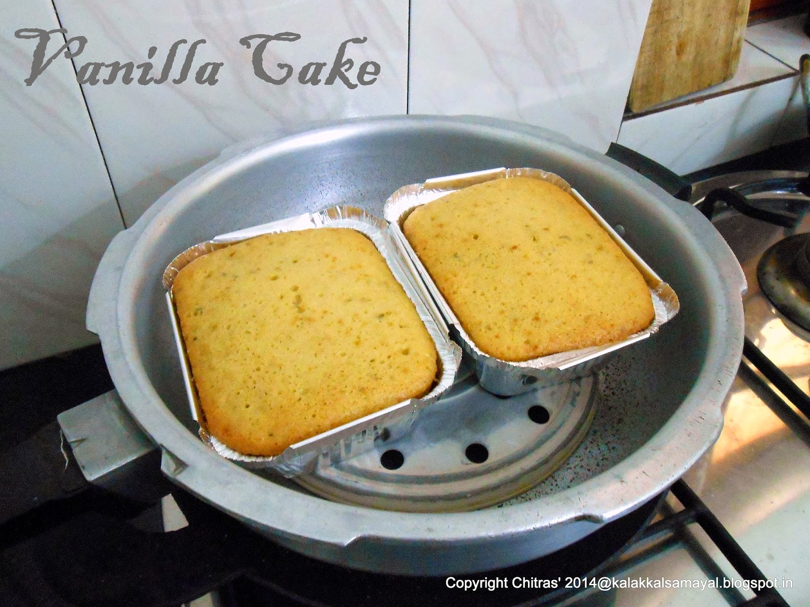 Vanilla cake ready to take out of the cooker