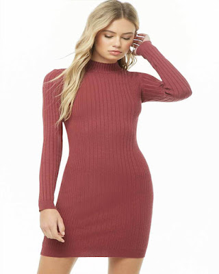 vestido entallado rojo manga larga corto de moda