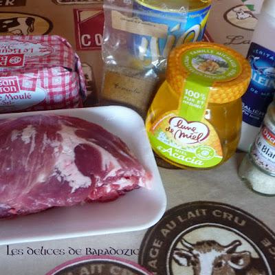 ingrédients de la recette : rôti de porc aux pommes