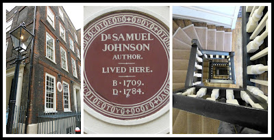 From left to right: Dr Johnson's House Museum, 17 Gough Square, London; plaque on 17 Gough Square, London; view down the staircase in 17 Gough Square, London Photos © Andrew Knowles