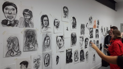 Carmen Wing - Uni Studio - Everyones Charcoal portraits on display