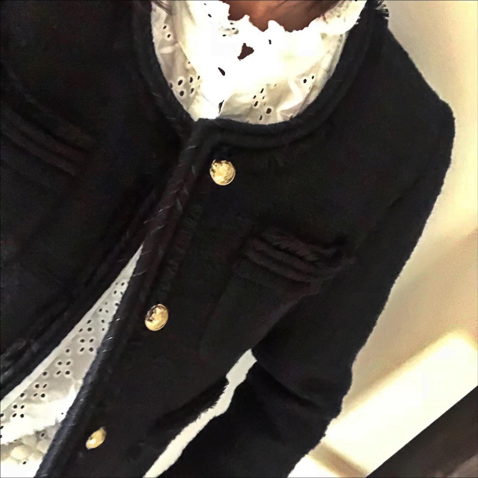 my midlife fashion, j crew tweed lady jacket, zara embroidered blouse