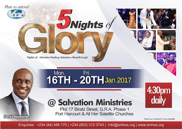 Get Set For #5NightsOfGlory 2017 With Pastor David Ibiyeomie
