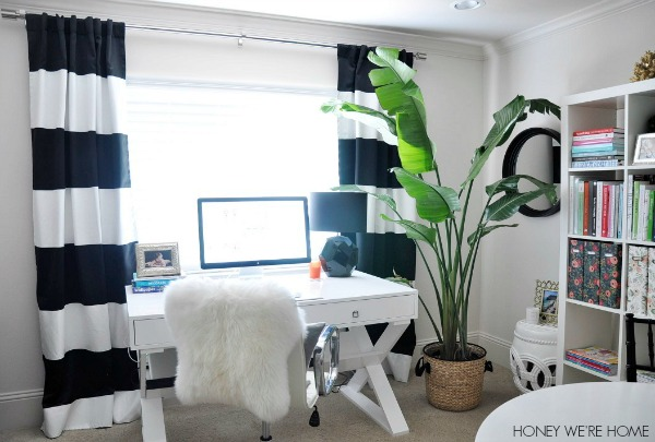 Honey We 39 Re Home Black And White And Bright Home Office Tour