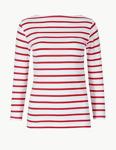 marks and spencer cotton rich striped fitted t shirt