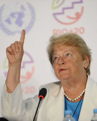 """Ex-primeira ministra da Noruega Gro Brundtland formulou  o conceito talismânico de """"desenvolvimento sustentavel""""  Foto Fabio Rodrigues Pozzebom-ABR"""