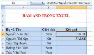 tinhoccoban.net - Hàm and trong Excel