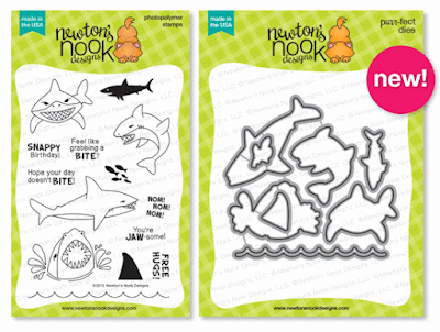 Shark Bites Stamp set and Die Set by Newton's Nook Designs #newtonsnook
